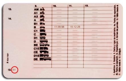 Códigos del Carnet de conducir